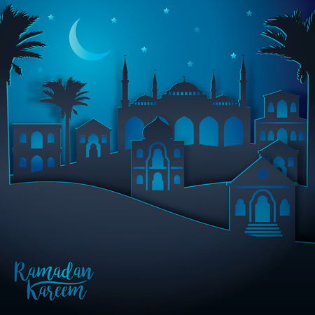 Arabic landscape city view for Ramadan Kareem.