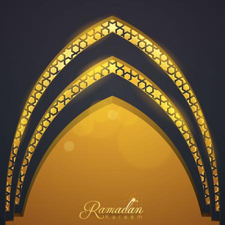 イスラムのベクトル デザイン アラビア語パターン イラスト テンプレート モスクのドアを挨拶ラマダーン カリーム