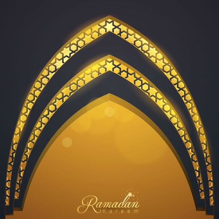 Islamic vector design Ramadan Kareem greeting template mosque door with arabic pattern illustration
