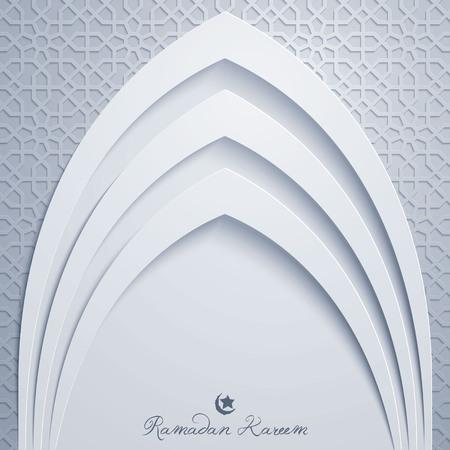 Ramadan Kareem Grußkarte Vorlage Moschee Tür mit arabischen Muster Illustration Standard-Bild - 77746171