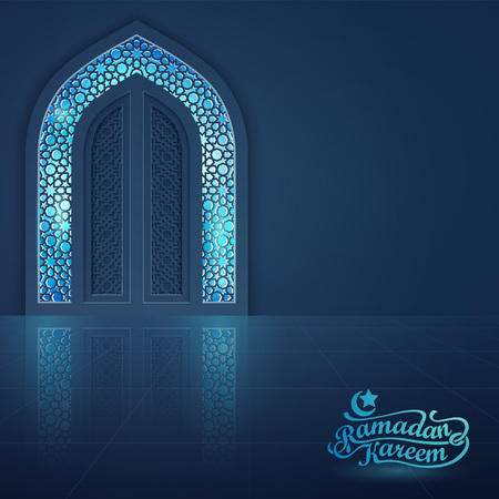 Ilustración de vector de la puerta de la mezquita islámica de fondo de la bandera de la tarjeta de felicitación de Ramadan Kareem Foto de archivo - 77728378