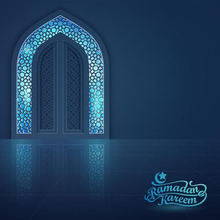 Ramadan Kareem greeting card banner background islamic mosque door vector illustration Vettoriali