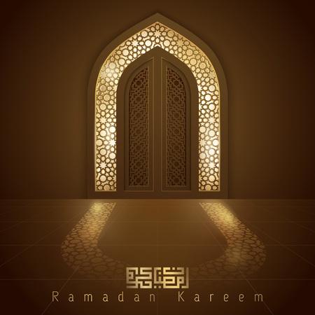 Puerta de la mezquita de diseño islámico para saludo de fondo Ramadan Kareem Foto de archivo - 77728377