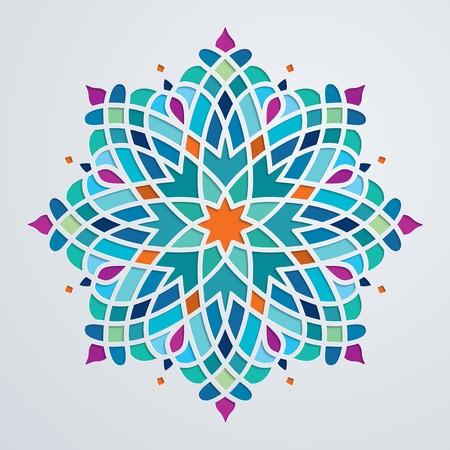 Beautiful round ornament colorful arabic pattern