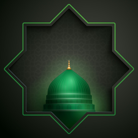 Islamic greeting card template for eid or ramadan - green dome of nabawi mosque