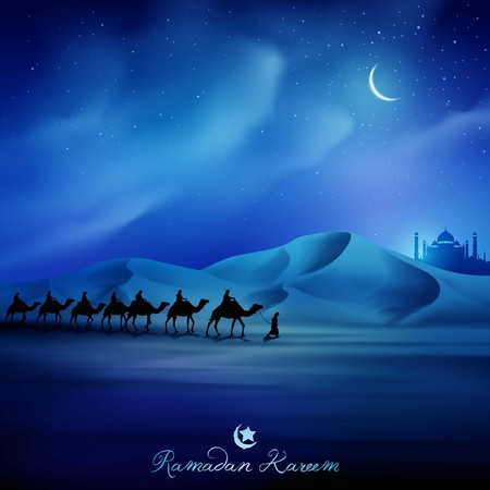 Eid Mubarak greeting card template night illustration arabian and camel on desert islamic background