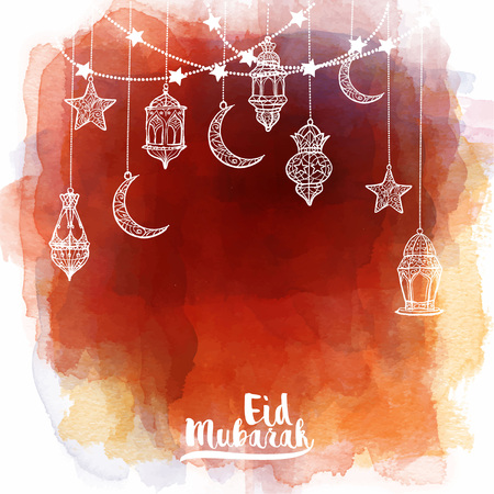 Eid Mubarak greeting card template islamic banner background with arabic lantern watercolor background