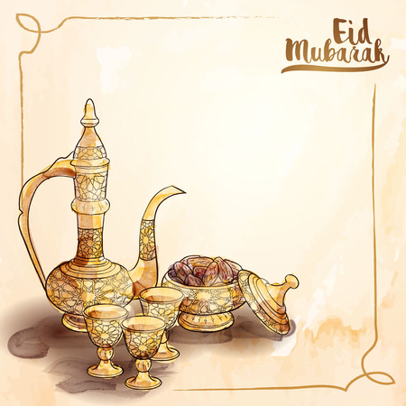 Eid Mubarak islamic greeting background with arabic traditional teapot and date fruit vector illustration Illustration