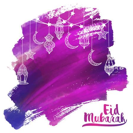 Eid Mubarak greeting card - islamic vector acrylic arabic lantern lamp illustration for banner background Çizim