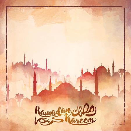 Mosque silhouette watercolor illustration for Ramadan Kareem islamic greeting background