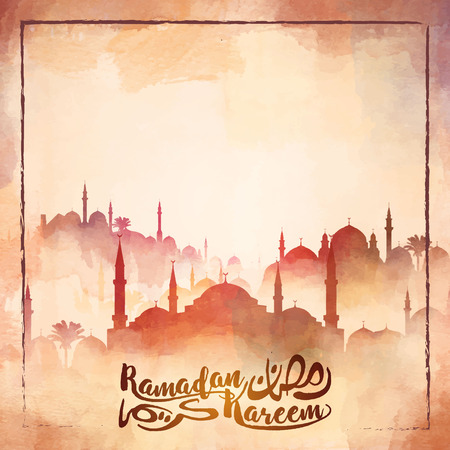 Mosque silhouette watercolor illustration for Ramadan Kareem islamic greeting background