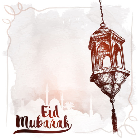 Arabic lantern sketch and mosque silhouette for Eid Mubarak greeting