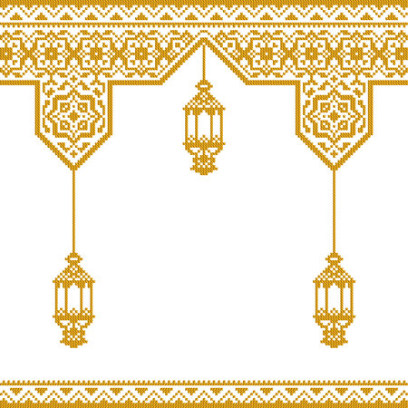 islamic greeting template with ethnic embroidery ornament and arabic lantern illustration Çizim
