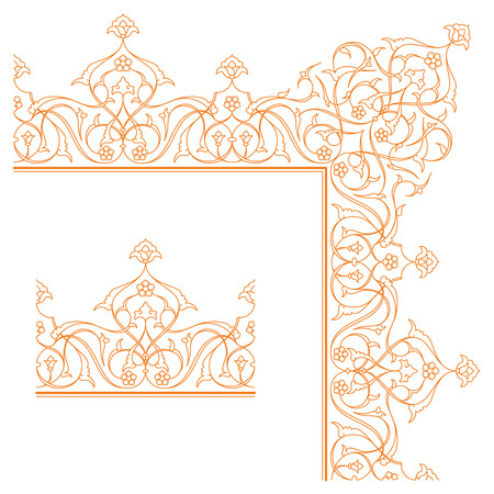 Floral ornament islamic pattern border arabic monoline element ornate arabesque