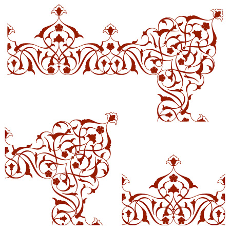Arabic floral ornament for border pattern arabesque ornate element Illustration