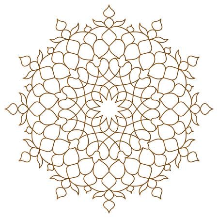 Ornamento monoline con patrón de círculo árabe