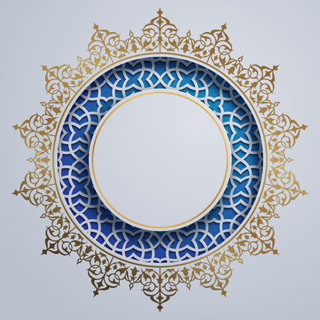 Islamic design circle background with morocco ornament pattern