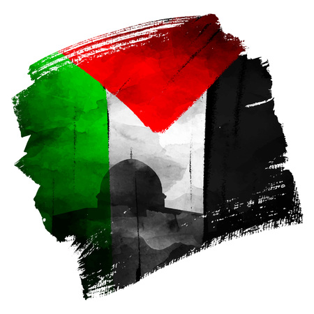 Palestine flag and al quds mosque silhouette vector illustration on ink brush shape