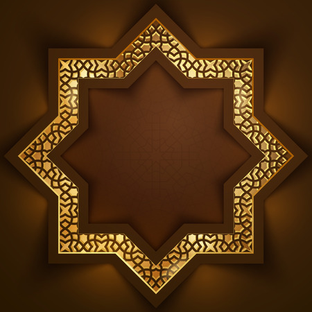Islamic background design morocco pattern glow light from arabic geometric ornament Ilustração