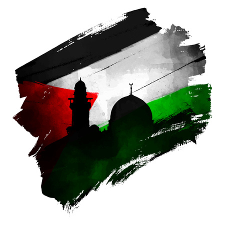 Palestine flag and al-quds mosque silhouette on ink brush shape