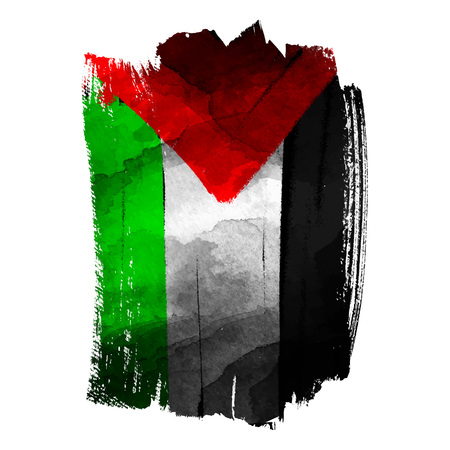 Palestine flas on ink brush stroke vector illustration Ilustração