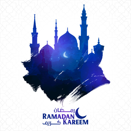 Ramadan kareem islamic greeting with mosque silhoutte on ink brush Illustration