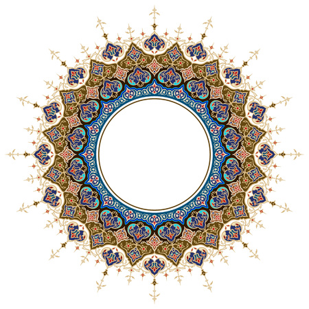 Arabic ornament classic floral round circle moroccoan pattern