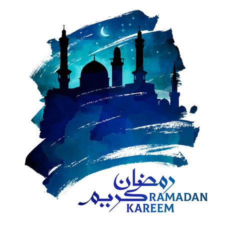 Ramadan kareem greeting mosque silhouette on ink brush islamic illustration