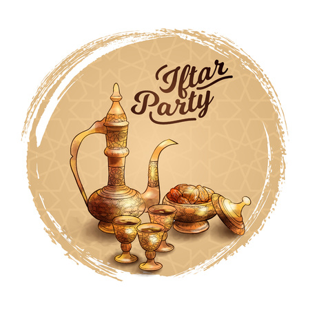 Ramadan kareem islamic Iftar party banner Hand drawn arabic teapot and date fruit illustration