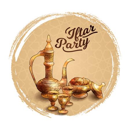 Ramadan kareem islamic Iftar party banner Hand drawn arabic teapot and date fruit illustration Imagens - 106704307