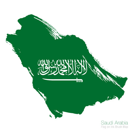 Saudi Arabia flag and ink brush map vector illustration