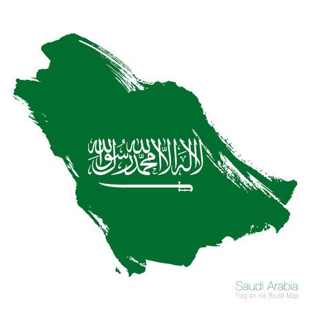 Saudi-Arabien Flagge und Tinte Pinsel Karte Vektor-Illustration map Vektorgrafik
