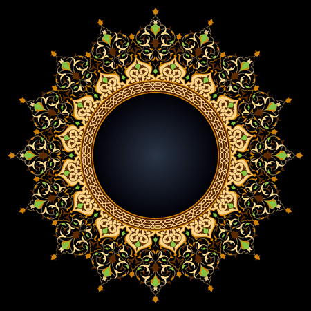 Arabic circle floral pattern islamic vector ornament decoration