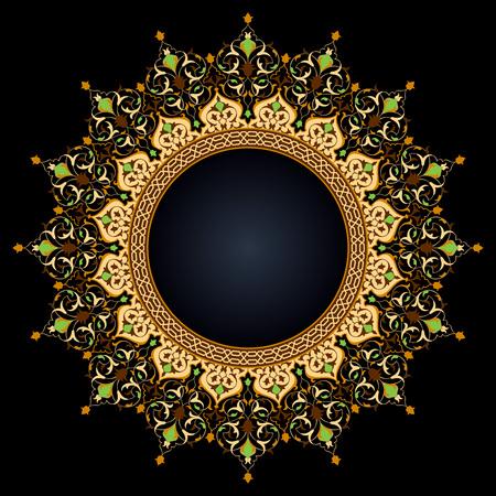 Arabic circle floral pattern islamic vector ornament decoration Stock fotó - 120643756