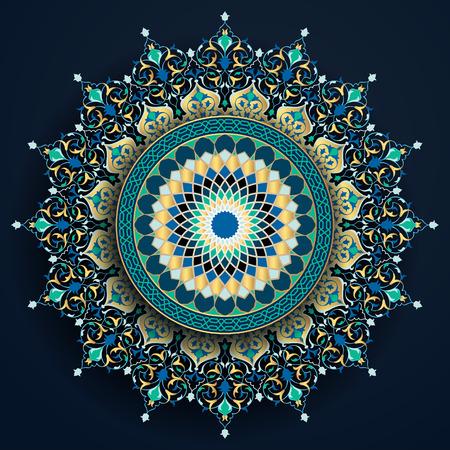 Ornamento marocchino con motivo floreale e geometrico arabo per lo sfondo