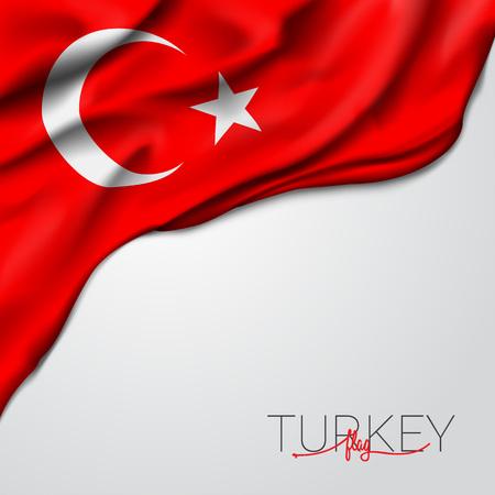 Illustrazione vettoriale di bandiera sventolante della Turchia Vettoriali