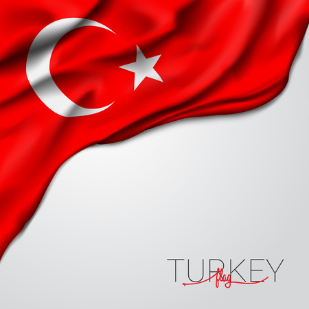 Turkey waving flag vector illustration