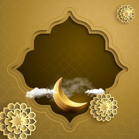 Islamic banner background greeting with gold crescent symbol and geometric pattern eastern style vector illustration