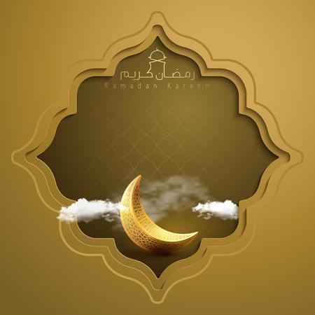 Banner islamico Ramadan Kareem saluto sfondo con simbolo della mezzaluna d'oro e motivo geometrico in stile orientale illustrazione vettoriale
