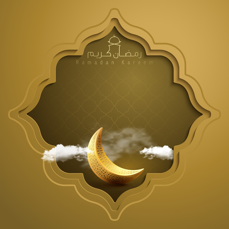 Islamic banner Ramadan Kareem greeting background with gold crescent symbol and geometric pattern eastern style vector illustration
