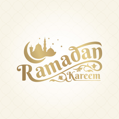Ramadan kareem lettering display with floral ornament and silhouette mosque illustration