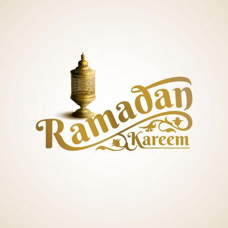 Ramadan Kareem lettering with gold arabic lantern illustration Ilustracja