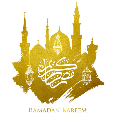 Ramadan kareem gold mosque silhouette and arabic calligraphy islamic background
