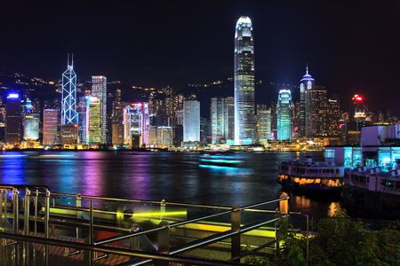 victoria harbor: Victoria Harbor and Central district, Hong Kong during late evening.