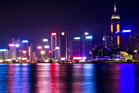 Victoria Harbor and Central district, Hong Kong during late evening. Stock Photo - 5830996
