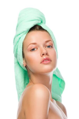 hand towel: Cute lady in a towel after bath isolated on white background