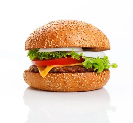 white yummy: Hamburger isolated on white