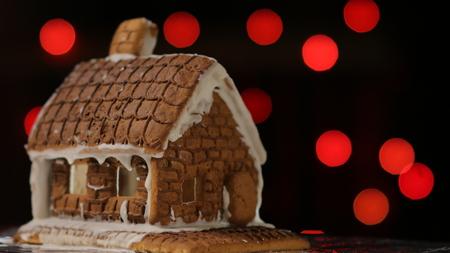 Gingerbread House Red Lights Banco de Imagens