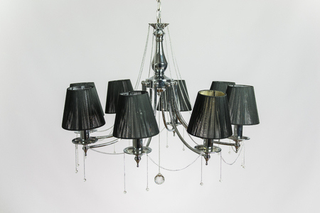 Chandelier with black plafonds and crystal silver gray