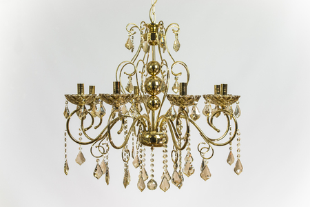 Chandelier golden color with gold crystal